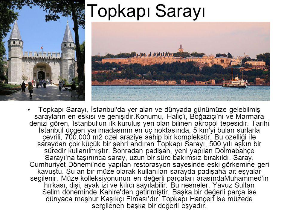 Topkapı Sarayı •Topkapı Sarayı, İstanbul'da yer alan ve dünyada günümüze gelebilmiş sarayların en eskisi ve genişidir.Konumu, Haliç'i, Boğaziçi'ni ve