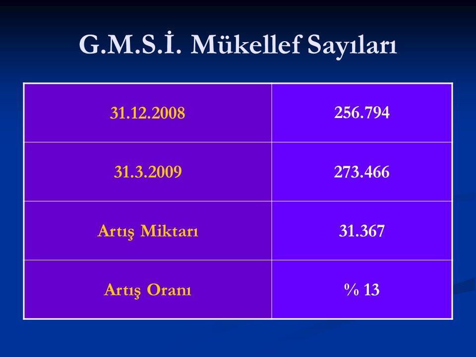 G.M.S.İ. Mükellef Sayıları 31.12.2008256.794 31.3.2009273.466 Artış Miktarı31.367 Artış Oranı% 13