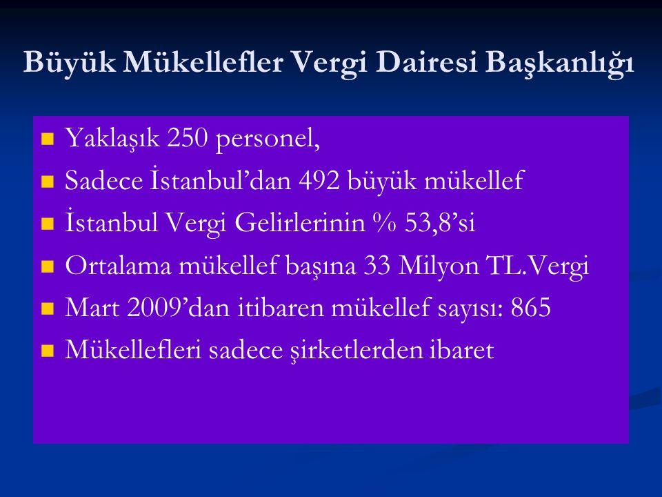 Büyük Mükellefler Vergi Dairesi Başkanlığı   Yaklaşık 250 personel,   Sadece İstanbul'dan 492 büyük mükellef   İstanbul Vergi Gelirlerinin % 53,