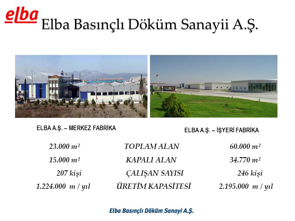Elba Basınçlı Döküm Sanayii A.Ş. ELBA A.Ş. – MERKEZ FABRİKA ELBA A.Ş. – İŞYERİ FABRİKA 23.000 m² TOPLAM ALAN 60.000 m² 15.000 m² KAPALI ALAN 34.770 m²