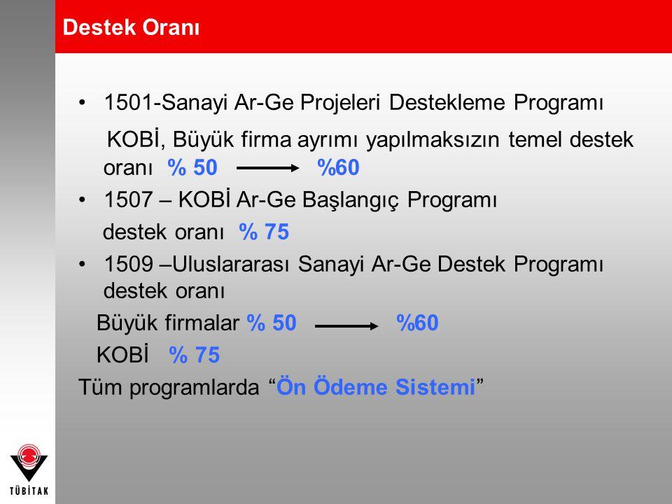 •1501-Sanayi Ar-Ge Projeleri Destekleme Programı KOBİ, Büyük firma ayrımı yapılmaksızın temel destek oranı % 50 %60 •1507 – KOBİ Ar-Ge Başlangıç Progr