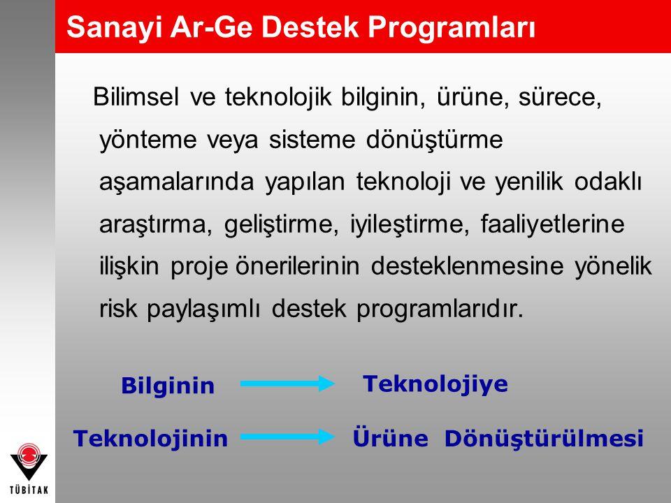 Sanayi Ar-Ge Destek Programları Bilimsel ve teknolojik bilginin, ürüne, sürece, yönteme veya sisteme dönüştürme aşamalarında yapılan teknoloji ve yeni