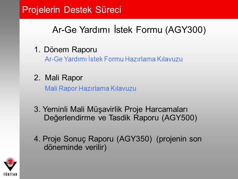 Projelerin Destek Süreci Ar-Ge Yardımı İstek Formu (AGY300) 1.Dönem Raporu Ar-Ge Yardımı İstek Formu Hazırlama Kılavuzu 2. Mali Rapor Mali Rapor Hazır