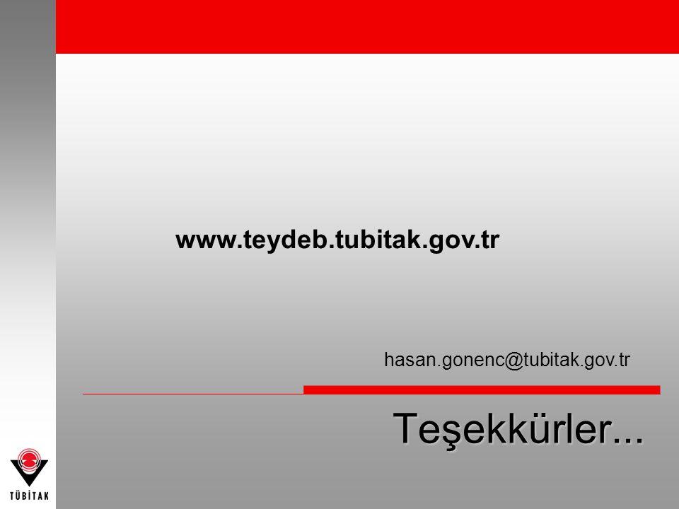Teşekkürler... hasan.gonenc@tubitak.gov.tr www.teydeb.tubitak.gov.tr