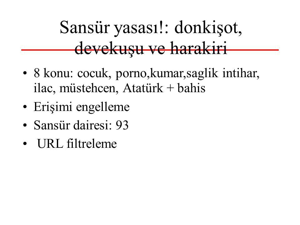 Sansür yasası!: donkişot, devekuşu ve harakiri •8 konu: cocuk, porno,kumar,saglik intihar, ilac, müstehcen, Atatürk + bahis •Erişimi engelleme •Sansür dairesi: 93 • URL filtreleme