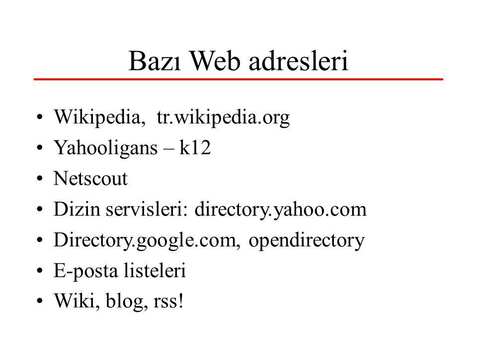Bazı Web adresleri •Wikipedia, tr.wikipedia.org •Yahooligans – k12 •Netscout •Dizin servisleri: directory.yahoo.com •Directory.google.com, opendirectory •E-posta listeleri •Wiki, blog, rss!