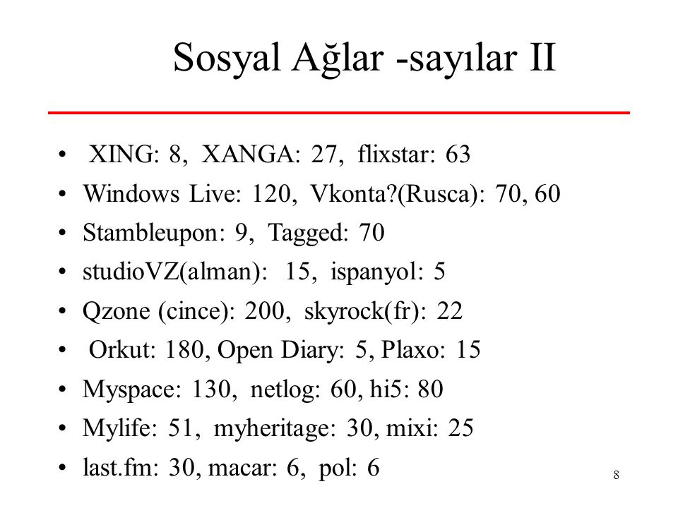 8 Sosyal Ağlar -sayılar II • XING: 8, XANGA: 27, flixstar: 63 •Windows Live: 120, Vkonta (Rusca): 70, 60 •Stambleupon: 9, Tagged: 70 •studioVZ(alman): 15, ispanyol: 5 •Qzone (cince): 200, skyrock(fr): 22 • Orkut: 180, Open Diary: 5, Plaxo: 15 •Myspace: 130, netlog: 60, hi5: 80 •Mylife: 51, myheritage: 30, mixi: 25 •last.fm: 30, macar: 6, pol: 6