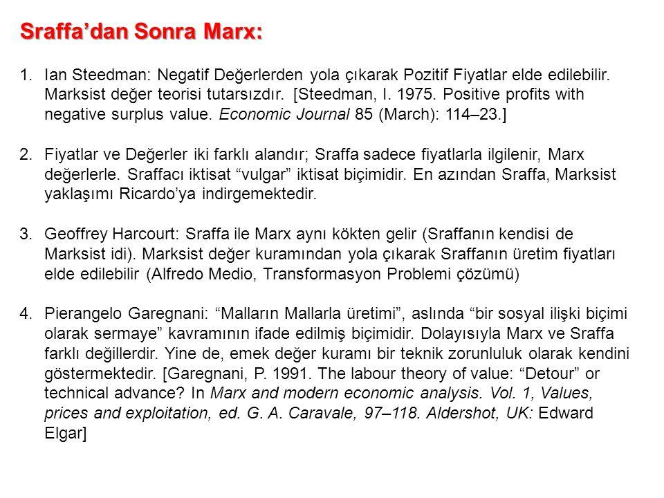 Sraffa'dan Sonra Marx: 1.Ian Steedman: Negatif Değerlerden yola çıkarak Pozitif Fiyatlar elde edilebilir. Marksist değer teorisi tutarsızdır. [Steedma