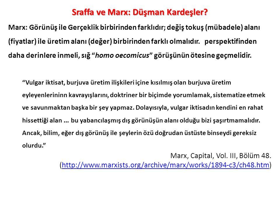Sraffa ve Marx: Düşman Kardeşler? Marx: Görünüş ile Gerçeklik birbirinden farklıdır; değiş tokuş (mübadele) alanı (fiyatlar) ile üretim alanı (değer)