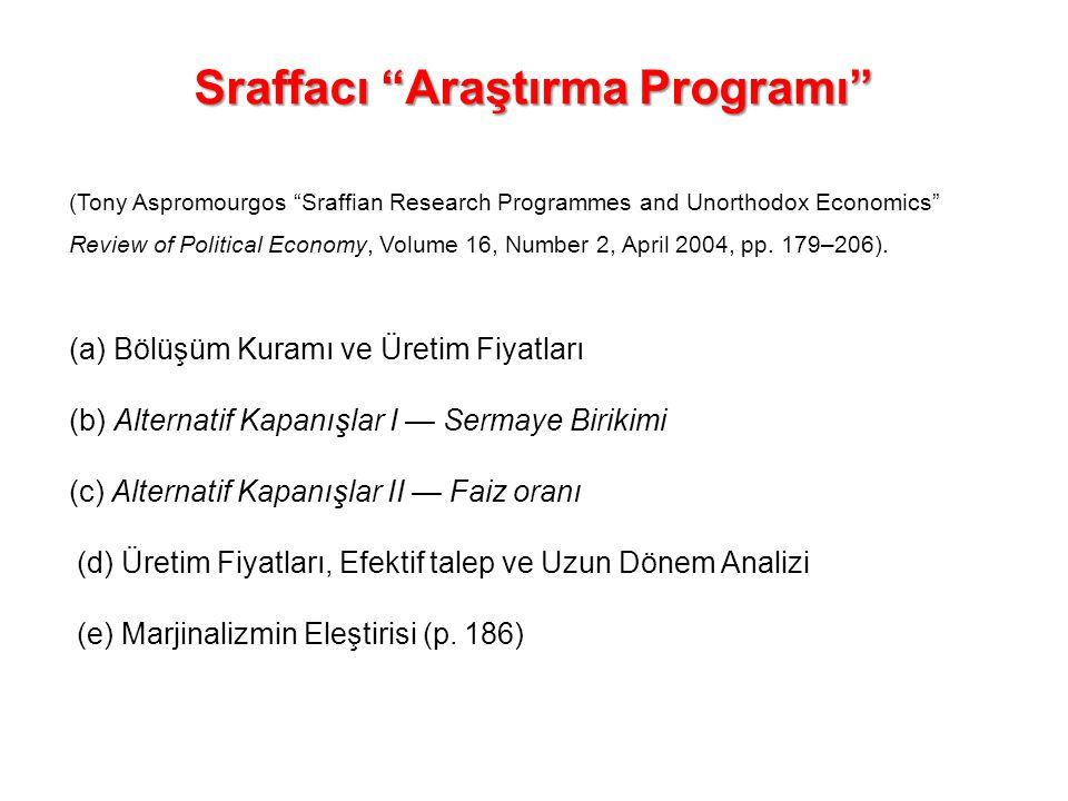 "Sraffacı ""Araştırma Programı"" (Tony Aspromourgos ""Sraffian Research Programmes and Unorthodox Economics"" Review of Political Economy, Volume 16, Numbe"