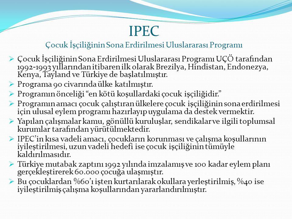 IPEC Çocuk İşçiliğinin Sona Erdirilmesi Uluslararası Programı  Çocuk İşçiliğinin Sona Erdirilmesi Uluslararası Programı UÇÖ tarafından 1992-1993 yıll