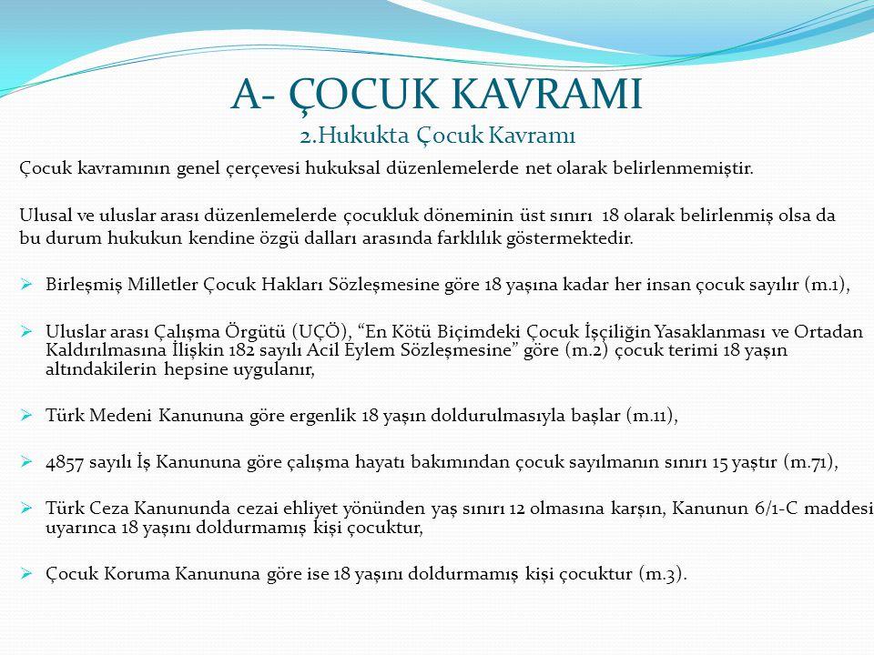 A- ÇOCUK KAVRAMI 2.Hukukta Çocuk Kavramı Çocuk kavramının genel çerçevesi hukuksal düzenlemelerde net olarak belirlenmemiştir. Ulusal ve uluslar arası