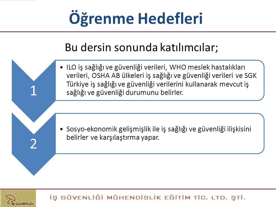 KONU BAŞLIKLARI •SGK verileri ile Türkiye'deki iş sağlığı ve güvenliği durumu 2 •İstatistiklerle dünyadaki iş sağlığı ve güvenliği durumu 1 •Gelişmiş ve gelişmekte olan ülkelerle Türkiye karşılaştırması 3
