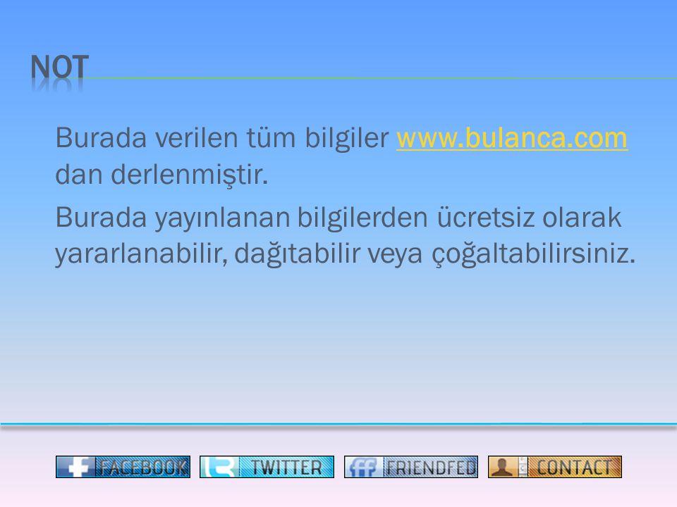 Burada verilen tüm bilgiler www.bulanca.com dan derlenmiştir.www.bulanca.com Burada yayınlanan bilgilerden ücretsiz olarak yararlanabilir, dağıtabilir