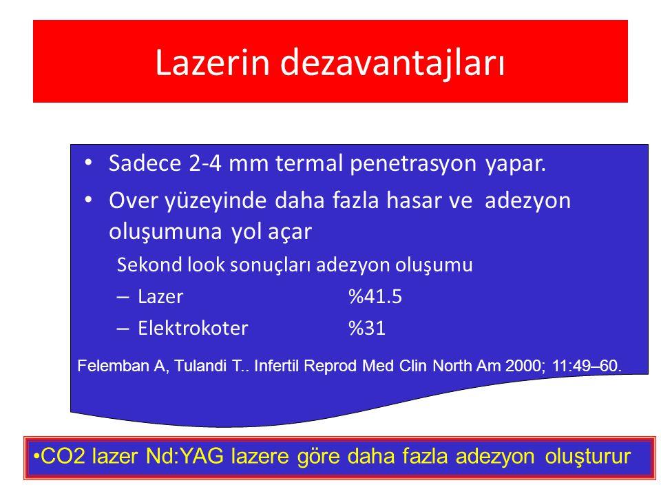 Lazerin dezavantajları • Sadece 2-4 mm termal penetrasyon yapar. • Over yüzeyinde daha fazla hasar ve adezyon oluşumuna yol açar Sekond look sonuçları