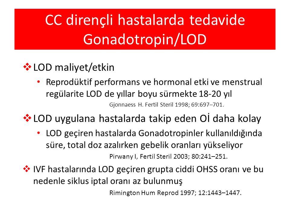 CC dirençli hastalarda tedavide Gonadotropin/LOD  LOD maliyet/etkin • Reprodüktif performans ve hormonal etki ve menstrual regülarite LOD de yıllar b