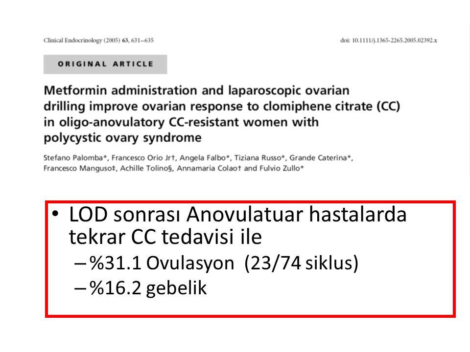 • LOD sonrası Anovulatuar hastalarda tekrar CC tedavisi ile – %31.1 Ovulasyon (23/74 siklus) – %16.2 gebelik