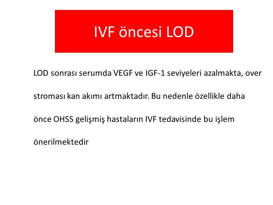 IVF öncesi LOD LOD sonrası serumda VEGF ve IGF-1 seviyeleri azalmakta, over stroması kan akımı artmaktadır. Bu nedenle özellikle daha önce OHSS gelişm