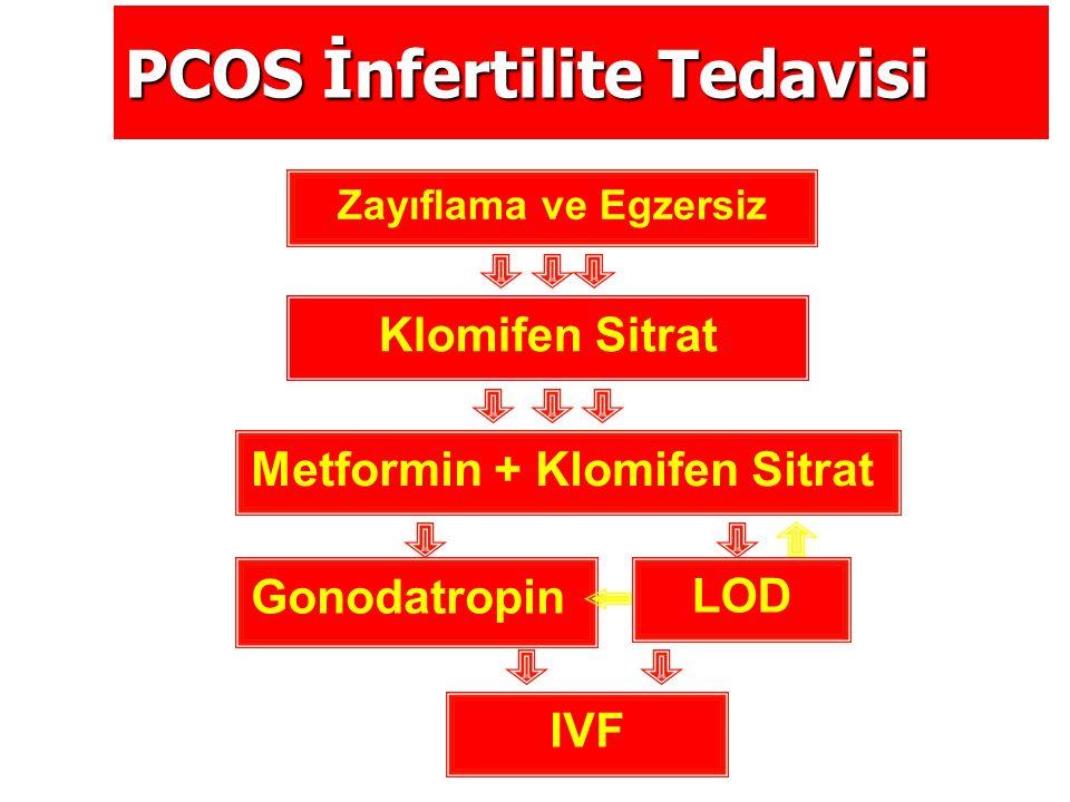 PCOS İnfertilite Tedavisi Zayıflama ve Egzersiz Klomifen Sitrat Metformin + Klomifen Sitrat LOD Gonodatropin IVF
