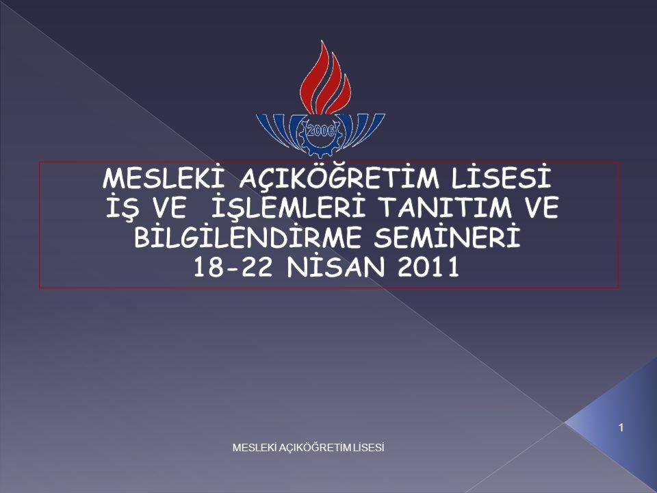 MİLLİ EĞİTİM BAKANLIĞI EĞİTİM TEKNOLOJİLERİ GENEL MÜDÜRLÜĞÜ MESLEKİ AÇIK ÖĞRETİM LİSESİ II.