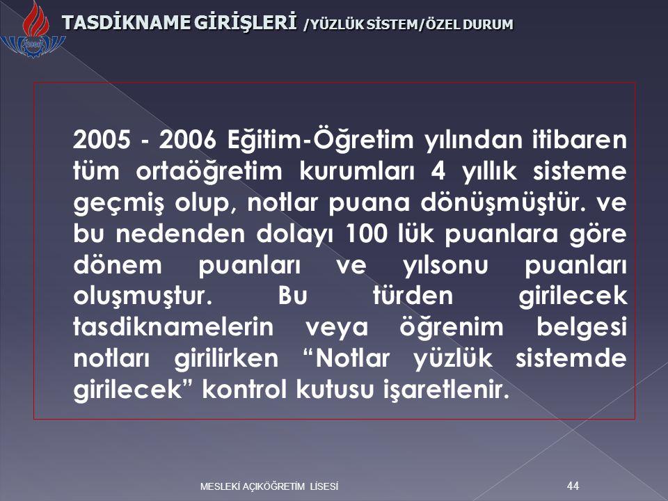 2005 - 2006 Eğitim-Öğretim yılından itibaren tüm ortaöğretim kurumları 4 yıllık sisteme geçmiş olup, notlar puana dönüşmüştür. ve bu nedenden dolayı 1