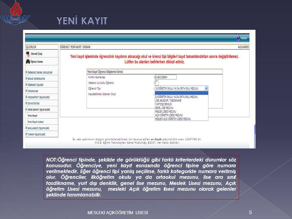 MESLEKİ AÇIKÖĞRETİM LİSESİ 36 TASDİKNAME GİRİŞLERİ Öğrencinin geldiği okul ve geldiği öğrenim sistem bilgisini sistemden düzeltebilmek ve tasdikname girişi yapabilmek için tasdikname ve sistem bilgileri kontrol edilmeli, belge ve sistemdeki bilgi farklı ise; BİLGİ DÜZENLEME altındaki GELDİĞİ OKUL SİSTEM ekranından ( EKRAN NO 2005 ) bu bilgilerin düzeltilmesi gerekmektedir.
