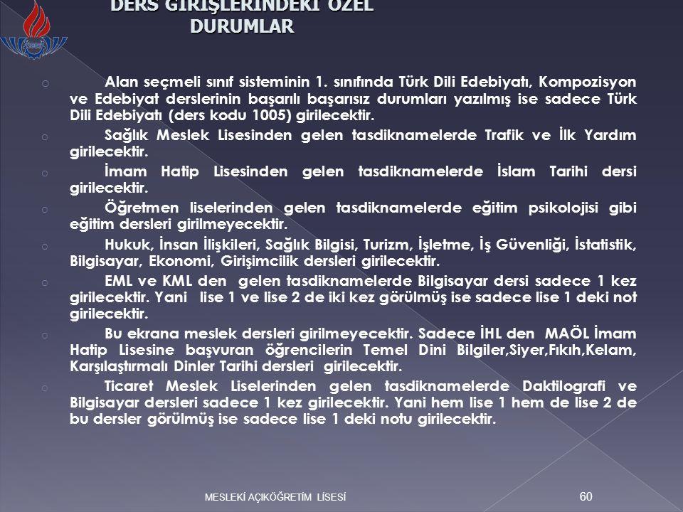 o Alan seçmeli sınıf sisteminin 1. sınıfında Türk Dili Edebiyatı, Kompozisyon ve Edebiyat derslerinin başarılı başarısız durumları yazılmış ise sadece