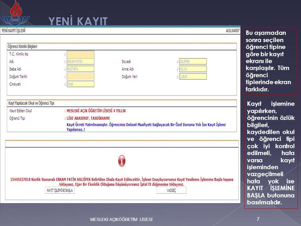 Bu aşamadan sonra yeni kayıt işlemine başlanılmalı ve aşağıdaki ekran görüntüsünde aktif alanlar zorunlu olarak doldurulmalıdır.