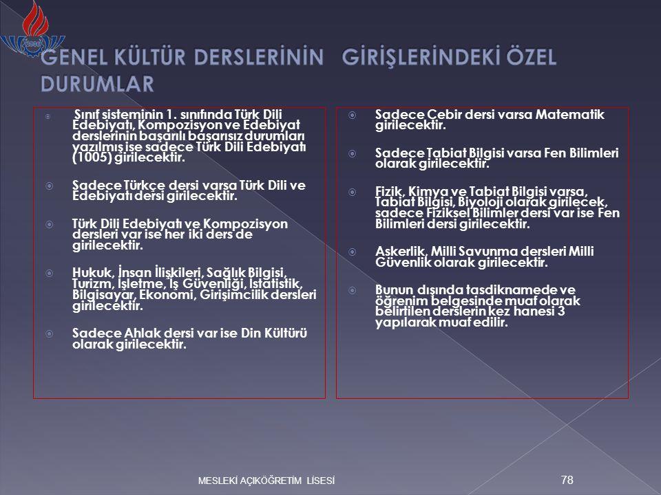  Sınıf sisteminin 1. sınıfında Türk Dili Edebiyatı, Kompozisyon ve Edebiyat derslerinin başarılı başarısız durumları yazılmış ise sadece Türk Dili Ed