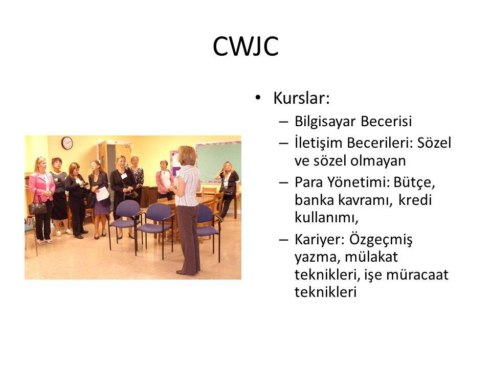 CWJC • Kurslar: – Bilgisayar Becerisi – İletişim Becerileri: Sözel ve sözel olmayan – Para Yönetimi: Bütçe, banka kavramı, kredi kullanımı, – Kariyer: Özgeçmiş yazma, mülakat teknikleri, işe müracaat teknikleri