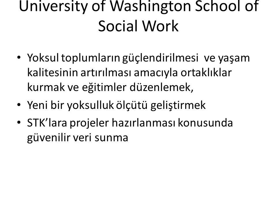 University of Washington School of Social Work • Yoksul toplumların güçlendirilmesi ve yaşam kalitesinin artırılması amacıyla ortaklıklar kurmak ve eğitimler düzenlemek, • Yeni bir yoksulluk ölçütü geliştirmek • STK'lara projeler hazırlanması konusunda güvenilir veri sunma