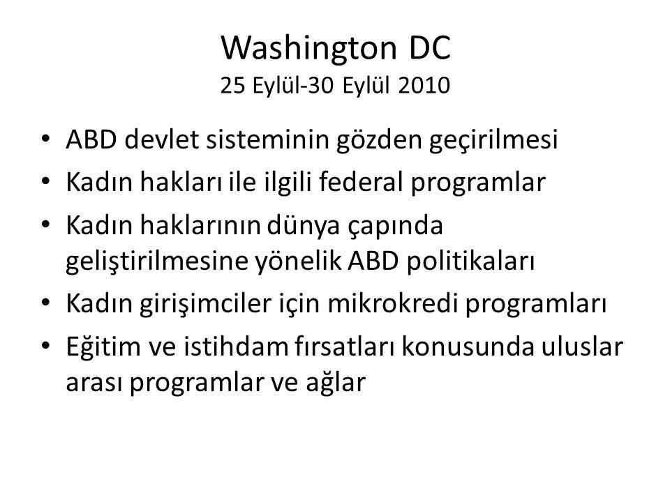 Washington DC 25 Eylül-30 Eylül 2010 • ABD devlet sisteminin gözden geçirilmesi • Kadın hakları ile ilgili federal programlar • Kadın haklarının dünya çapında geliştirilmesine yönelik ABD politikaları • Kadın girişimciler için mikrokredi programları • Eğitim ve istihdam fırsatları konusunda uluslar arası programlar ve ağlar