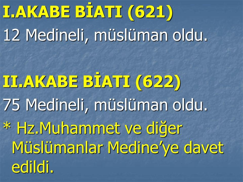 I.AKABE BİATI (621) 12 Medineli, müslüman oldu. II.AKABE BİATI (622) 75 Medineli, müslüman oldu. * Hz.Muhammet ve diğer Müslümanlar Medine'ye davet ed