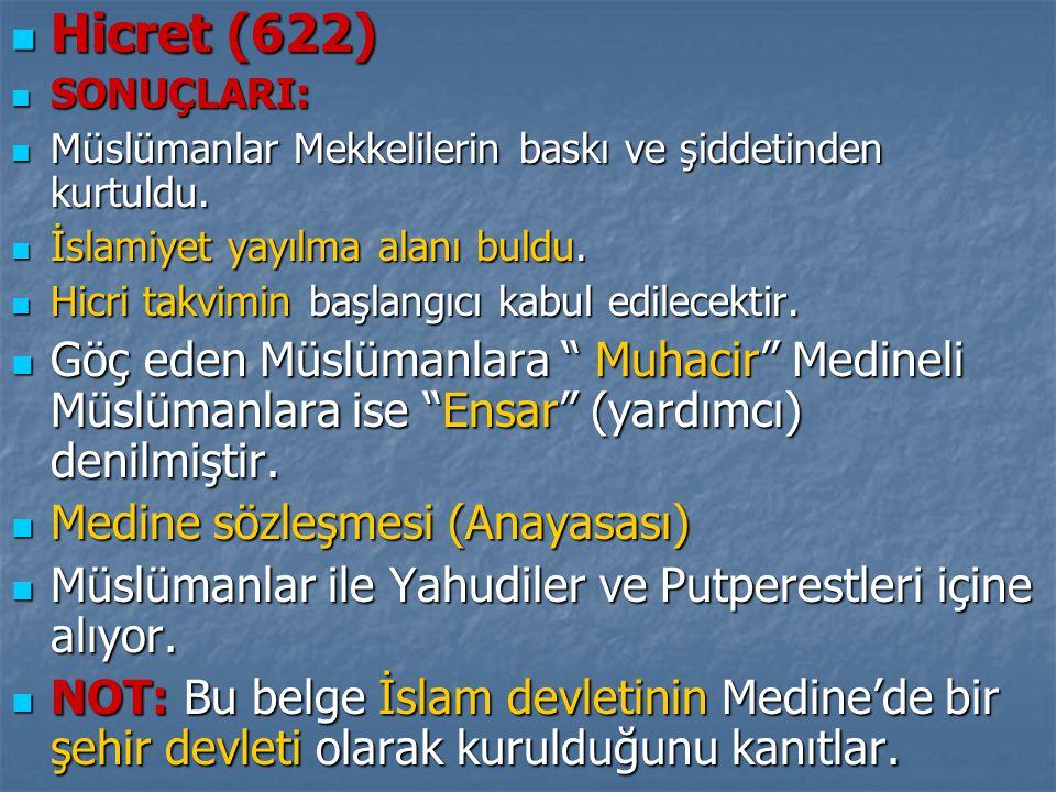  Hicret (622)  SONUÇLARI:  Müslümanlar Mekkelilerin baskı ve şiddetinden kurtuldu.  İslamiyet yayılma alanı buldu.  Hicri takvimin başlangıcı kab