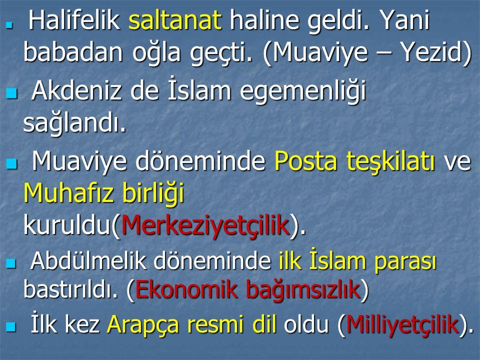  Halifelik saltanat haline geldi. Yani babadan oğla geçti. (Muaviye – Yezid)  Akdeniz de İslam egemenliği sağlandı.  Muaviye döneminde Posta teşkil