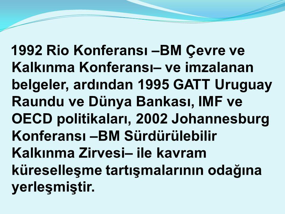 1992 Rio Konferansı –BM Çevre ve Kalkınma Konferansı– ve imzalanan belgeler, ardından 1995 GATT Uruguay Raundu ve Dünya Bankası, IMF ve OECD politikal