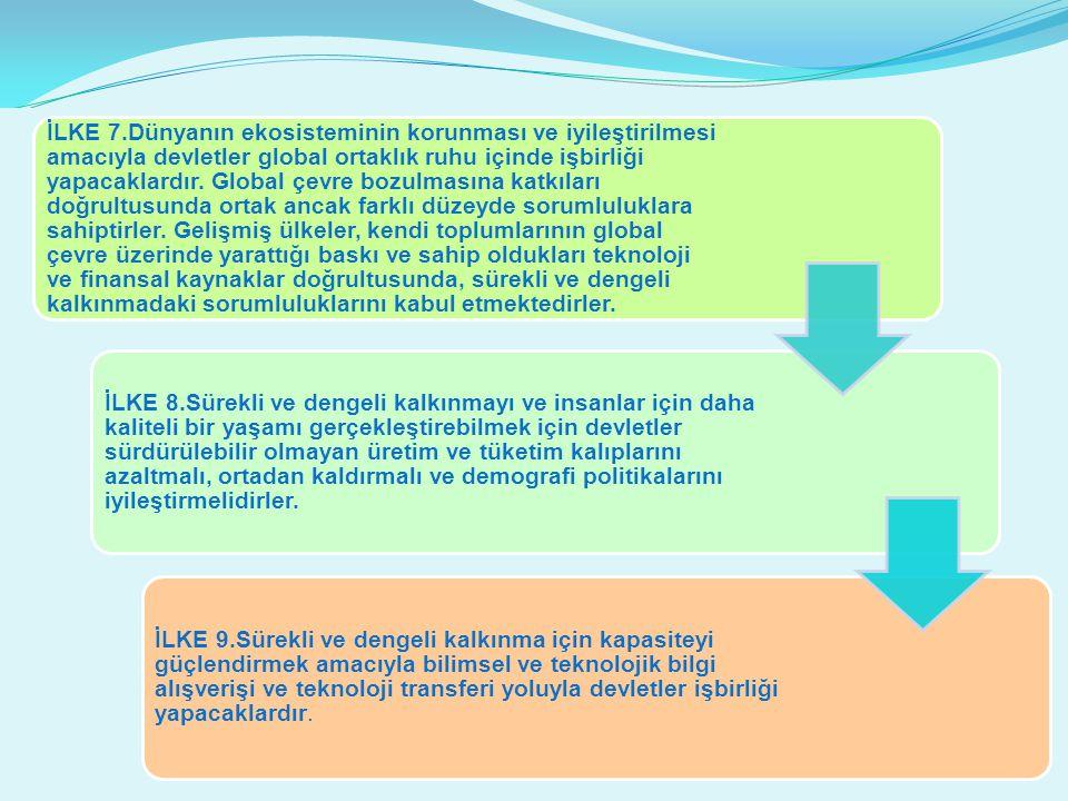 İLKE 7.Dünyanın ekosisteminin korunması ve iyileştirilmesi amacıyla devletler global ortaklık ruhu içinde işbirliği yapacaklardır. Global çevre bozulm