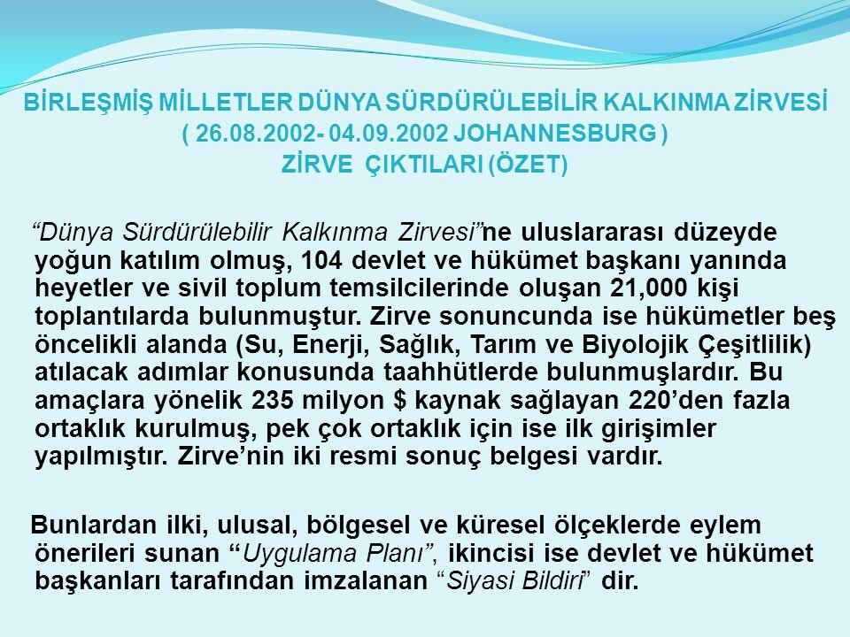 """BİRLEŞMİŞ MİLLETLER DÜNYA SÜRDÜRÜLEBİLİR KALKINMA ZİRVESİ ( 26.08.2002- 04.09.2002 JOHANNESBURG ) ZİRVE ÇIKTILARI (ÖZET) """"Dünya Sürdürülebilir Kalkınm"""