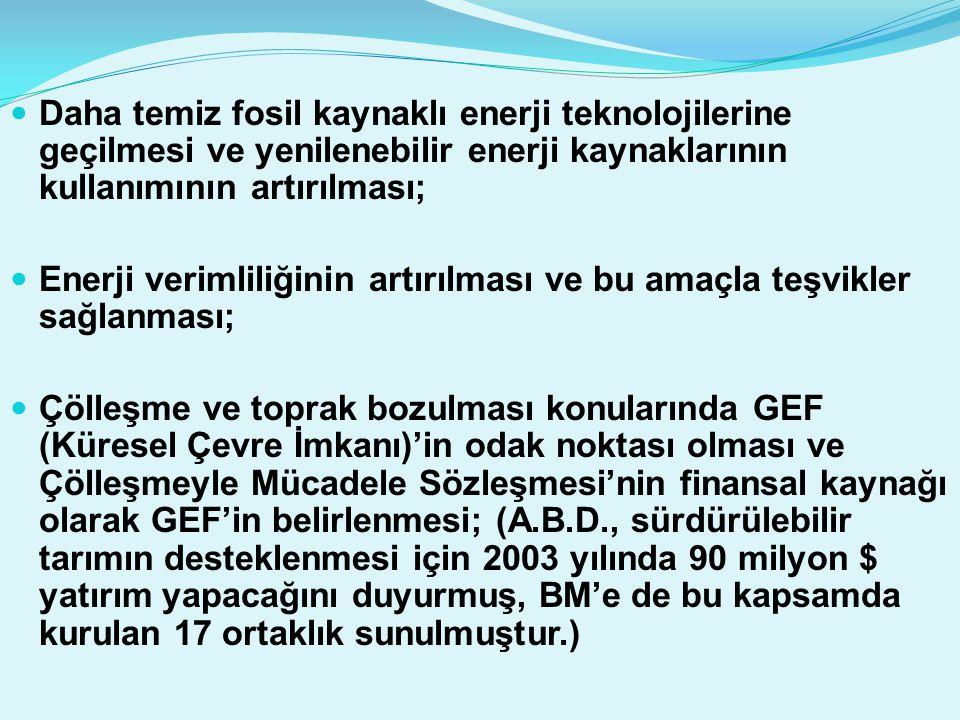  Daha temiz fosil kaynaklı enerji teknolojilerine geçilmesi ve yenilenebilir enerji kaynaklarının kullanımının artırılması;  Enerji verimliliğinin a