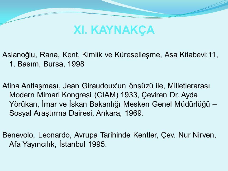 XI. KAYNAKÇA Aslanoğlu, Rana, Kent, Kimlik ve Küreselleşme, Asa Kitabevi:11, 1. Basım, Bursa, 1998 Atina Antlaşması, Jean Giraudoux'un önsüzü ile, Mil