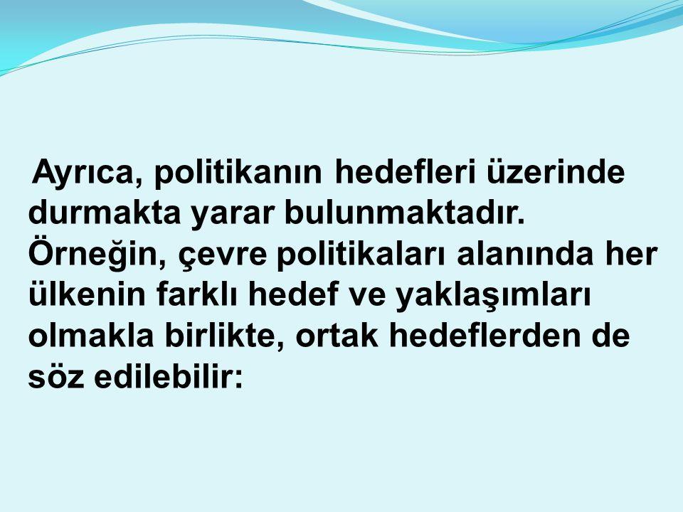 Ayrıca, politikanın hedefleri üzerinde durmakta yarar bulunmaktadır. Örneğin, çevre politikaları alanında her ülkenin farklı hedef ve yaklaşımları olm