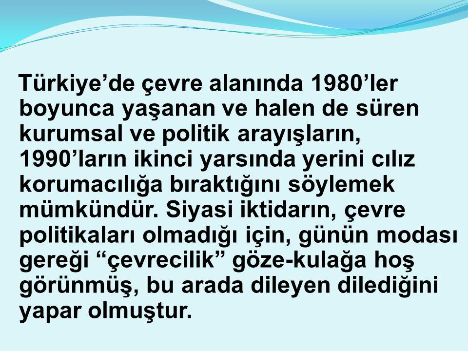 Türkiye'de çevre alanında 1980'ler boyunca yaşanan ve halen de süren kurumsal ve politik arayışların, 1990'ların ikinci yarsında yerini cılız korumacı