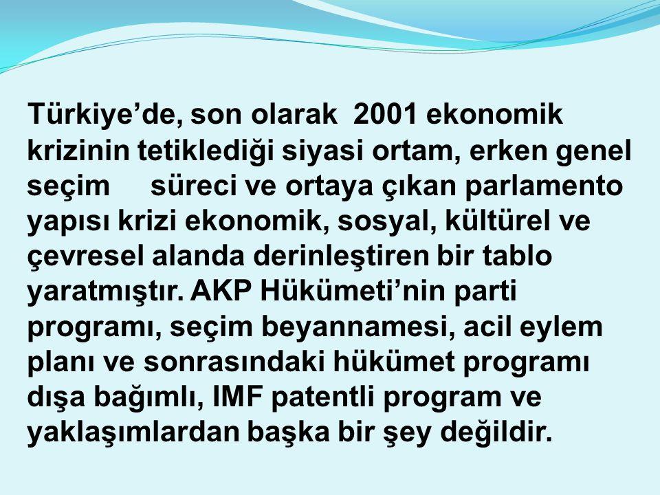 Türkiye'de, son olarak 2001 ekonomik krizinin tetiklediği siyasi ortam, erken genel seçim süreci ve ortaya çıkan parlamento yapısı krizi ekonomik, sos
