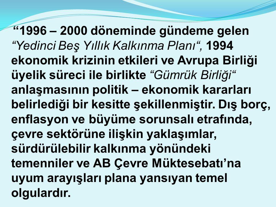 """""""1996 – 2000 döneminde gündeme gelen """"Yedinci Beş Yıllık Kalkınma Planı"""", 1994 ekonomik krizinin etkileri ve Avrupa Birliği üyelik süreci ile birlikte"""