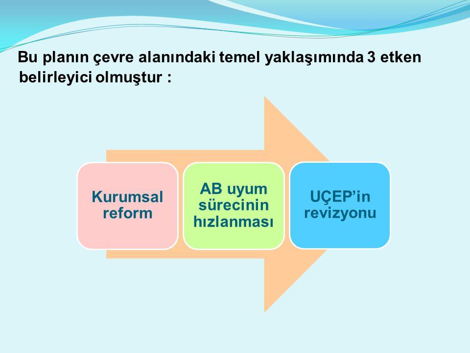 Bu planın çevre alanındaki temel yaklaşımında 3 etken belirleyici olmuştur : Kurumsal reform AB uyum sürecinin hızlanması UÇEP'in revizyonu