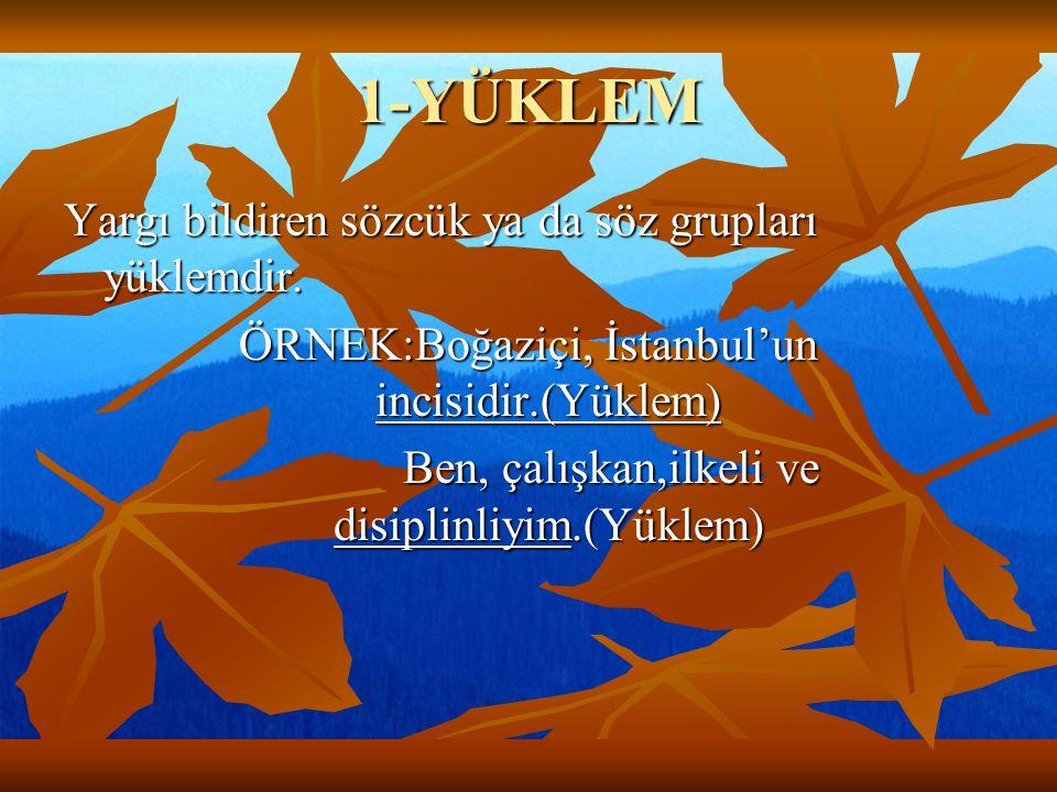 1-YÜKLEM Yargı bildiren sözcük ya da söz grupları yüklemdir. ÖRNEK:Boğaziçi, İstanbul'un incisidir.(Yüklem) Ben, çalışkan,ilkeli ve disiplinliyim.(Yük