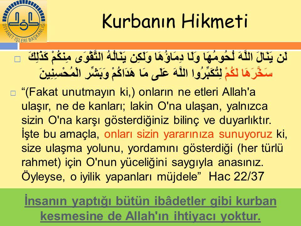 Kurbanın Hikmeti  لَن يَنَالَ اللَّهَ لُحُومُهَا وَلَا دِمَاؤُهَا وَلَكِن يَنَالُهُ التَّقْوَى مِنكُمْ كَذَلِكَ سَخَّرَهَا لَكُمْ لِتُكَبِّرُوا اللَّ