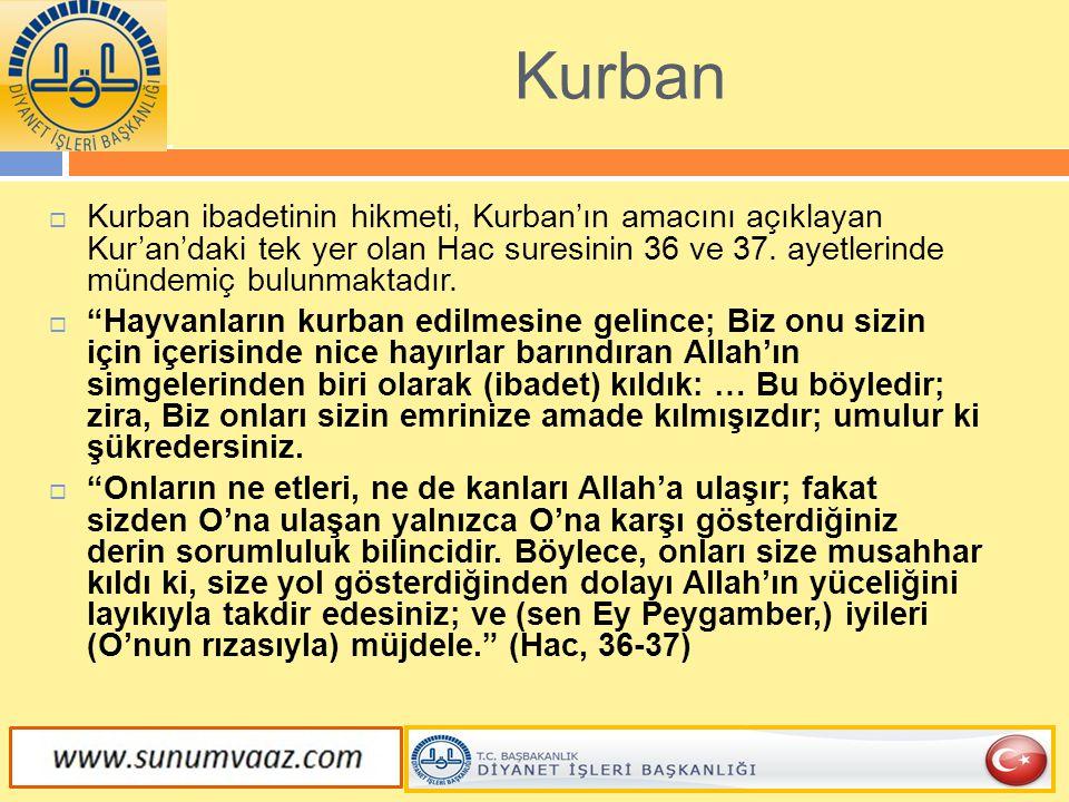 """ Kurban ibadetinin hikmeti, Kurban'ın amacını açıklayan Kur'an'daki tek yer olan Hac suresinin 36 ve 37. ayetlerinde mündemiç bulunmaktadır.  """"Hayva"""