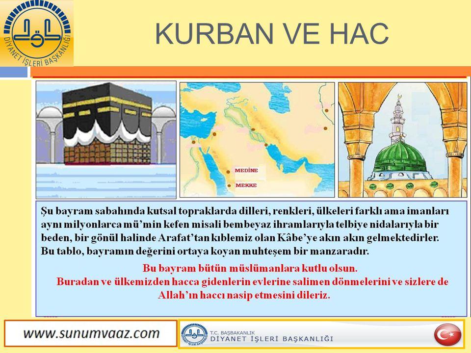  Kurban ibadetinin hikmeti, Kurban'ın amacını açıklayan Kur'an'daki tek yer olan Hac suresinin 36 ve 37.