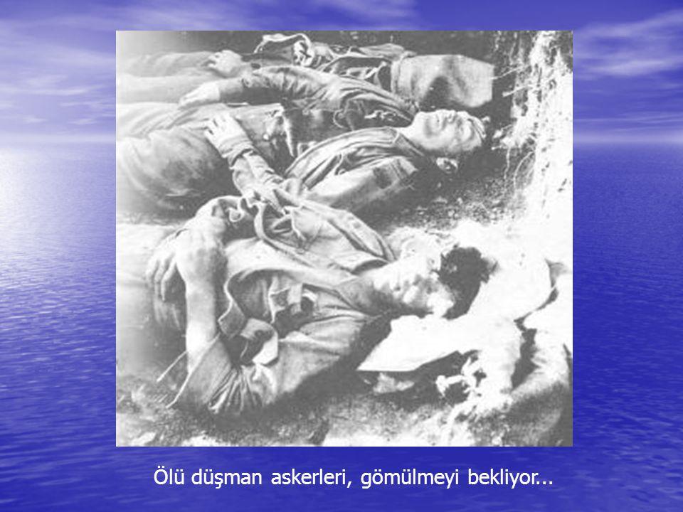 Lonepine'da düşman siperlerinde, hendeklerin hemen kenarında vurulup kalmış Türk askerleri... Anzac'lar, kokuşan cesetleri uzaklaştırmak için siperler